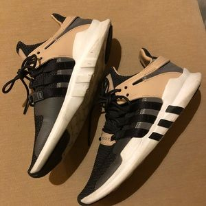Adidas black white beige sneakers size 10